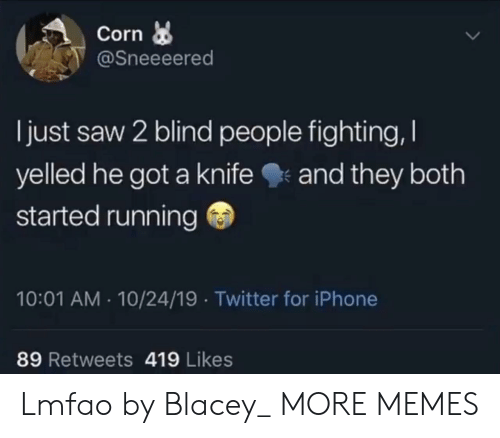 Lmfao: Corn  @Sneeeered  I just saw 2 blind people fighting,  yelled he got a knife  and they both  started running  10:01 AM 10/24/19 Twitter for iPhone  89 Retweets 419 Likes Lmfao by Blacey_ MORE MEMES