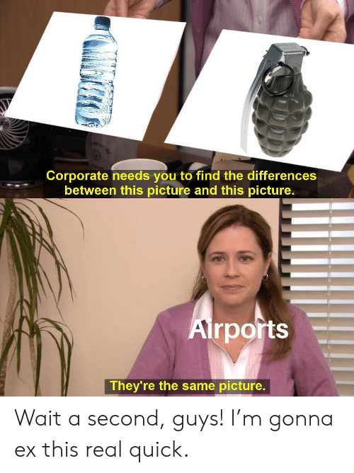 Corporate, Picture, and You: Corporate needs you to find the differences  between this picture and this picture.  Airports  They're the same picture. Wait a second, guys! I'm gonna ex this real quick.