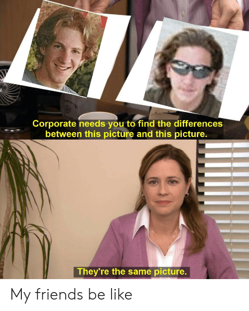 Be Like, Friends, and History: Corporate needs you to find the differences  between this picture and this picture.  They're the same picture. My friends be like