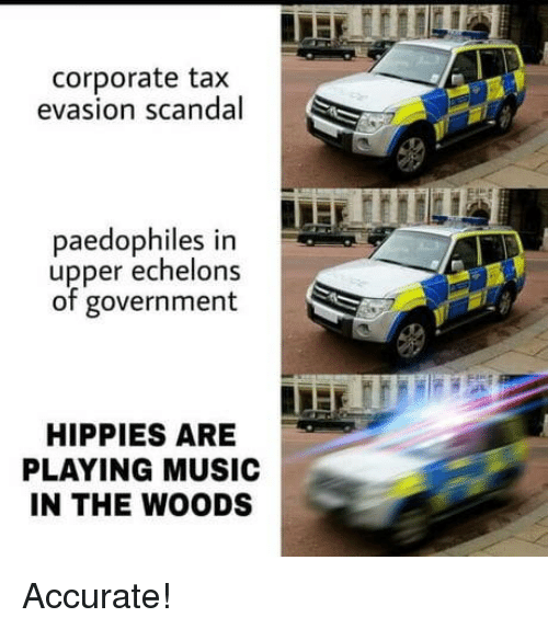 Scandal: corporate tax  evasion scandal  paedophiles in  upper echelons  of government  HIPPIES ARE  PLAYING MUSIC  IN THE WOODS Accurate!