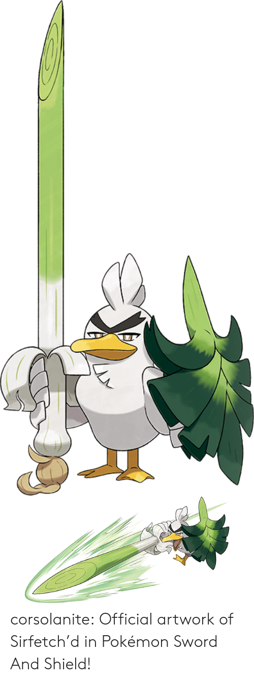 shield: corsolanite: Official artwork of Sirfetch'd   in Pokémon Sword And Shield!