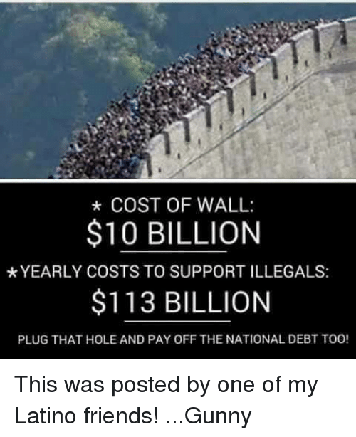 gunny: COST OF WALL:  $10 BILLION  *YEARLY COSTS TO SUPPORTILLEGALS:  $113 BILLION  PLUG THAT HOLE AND PAY OFF THE NATIONAL DEBT TOO! This was posted by one of my Latino friends! ...Gunny