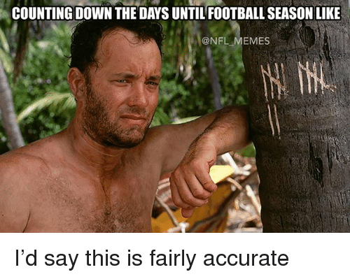 Nfl Meme: COUNTING DOWN THE DAYS UNTILFOOTBALL SEASON LIKE  @NFL MEMES I'd say this is fairly accurate