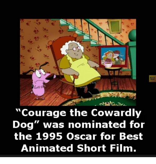 """best animes: """"Courage the Cowardly  Dog"""" was nominated for  the 1995 Oscar for Best  Animated Short Film."""