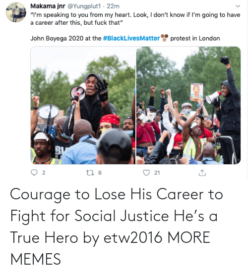 Fight: Courage to Lose His Career to Fight for Social Justice He's a True Hero by etw2016 MORE MEMES