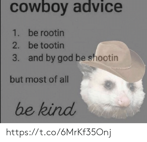 Advice, God, and Memes: cowboy advice  1. be rootin  2. be tootin  3. and by god be shootin  but most of all  be kind https://t.co/6MrKf35Onj