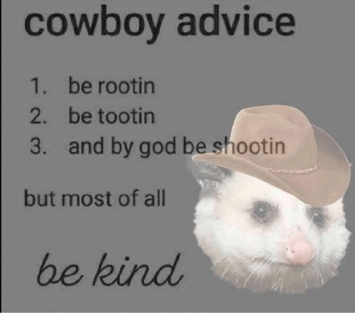 Cowboy: cowboy advice  1. be rootin  2. be tootin  and by god be shootin  3.  but most of all  be kind
