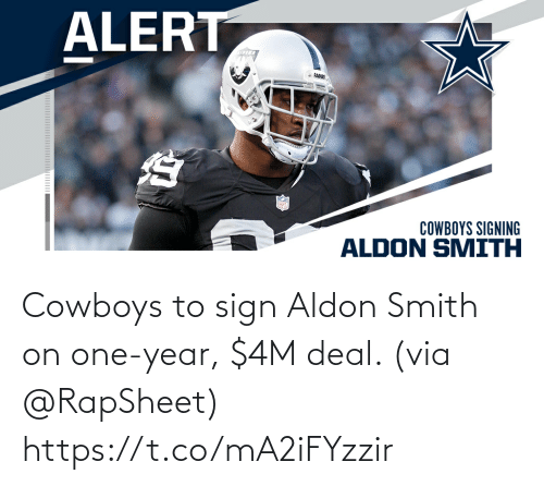 one: Cowboys to sign Aldon Smith on one-year, $4M deal. (via @RapSheet) https://t.co/mA2iFYzzir