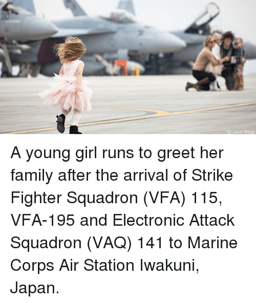 Family, Memes, and Girl: Cpl Joseph Abrego A young girl runs to greet her family after the arrival of Strike Fighter Squadron (VFA) 115, VFA-195 and Electronic Attack Squadron (VAQ) 141 to Marine Corps Air Station Iwakuni, Japan.
