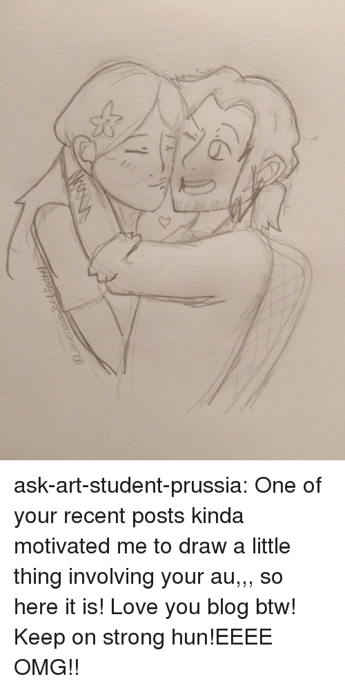 Is Love You: CQ ask-art-student-prussia:  One of your recent posts kinda motivated me to draw a little thing involving your au,,, so here it is! Love you blog btw! Keep on strong hun!EEEE OMG!!
