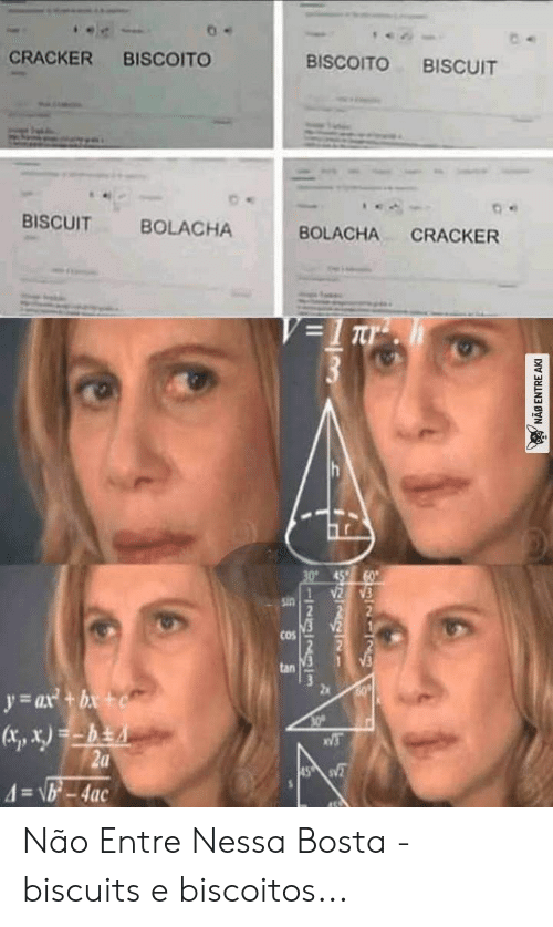 Entre: CRACKER  BISCOITO  BISCOITO  BISCUIT  BISCUIT  BOLACHA  BOLACHA  CRACKER  V=1 Tr  30° 45  sin  COS  tan  60  y ax+b+  30  V3  2a  4=\b-4ac  45 S  I2323lm  NAB ENTRE AKI Não Entre Nessa Bosta - biscuits e biscoitos...