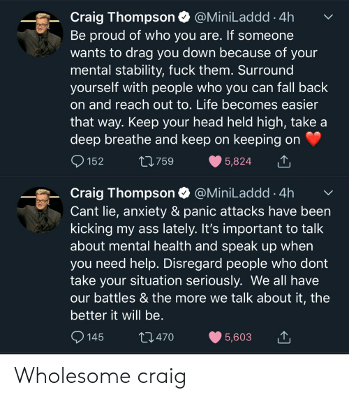 Ass, Fall, and Head: Craig Thompson  Be proud of who you are. If someone  wants to drag you down because of your  mental stability, fuck them. Surround  yourself with people who you can fall back  @MiniLaddd4h  on and reach out to. Life becomes easier  that way. Keep your head held high, take a  deep breathe and keep on keeping on  152  t759  5,824  Craig Thompson  Cant lie, anxiety & panic attacks have been  kicking my ass lately. It's important to talk  about mental health and speak up when  @MiniLaddd 4h  you need help. Disregard people who dont  take your situation seriously. We all have  our battles & the more we talk about it, the  better it will be.  t.470  145  5,603 Wholesome craig