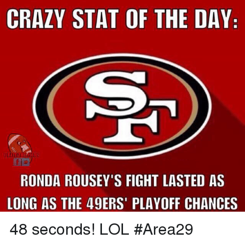 Ronda Rousey: CRAZY STAT OF THE DAY  RONDA ROUSEY'S FIGHT LASTED AS  LONG AS THE 49ERS' PLAYOFF CHANCES 48 seconds! LOL  #Area29