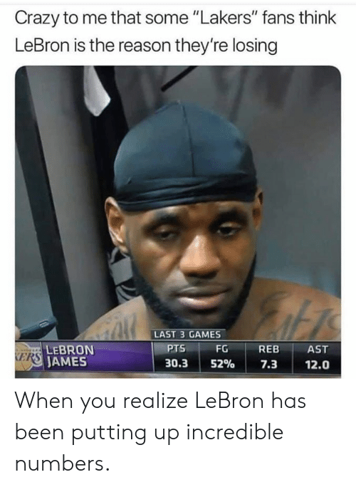 """Ames: Crazy to me that some """"Lakers"""" fans think  LeBron is the reason they're losing  LAST 3 GAMES  PTS  FG REB AST  LEBRON  AMES  KERS  30.3152% 7.3 12.0 When you realize LeBron has been putting up incredible numbers."""