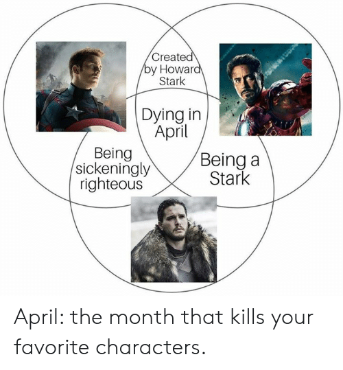 Dank, April, and 🤖: Created  y Howar  Stark  Dying in  April  Being  sickeningly  righteous  Being a  Stark April: the month that kills your favorite characters.