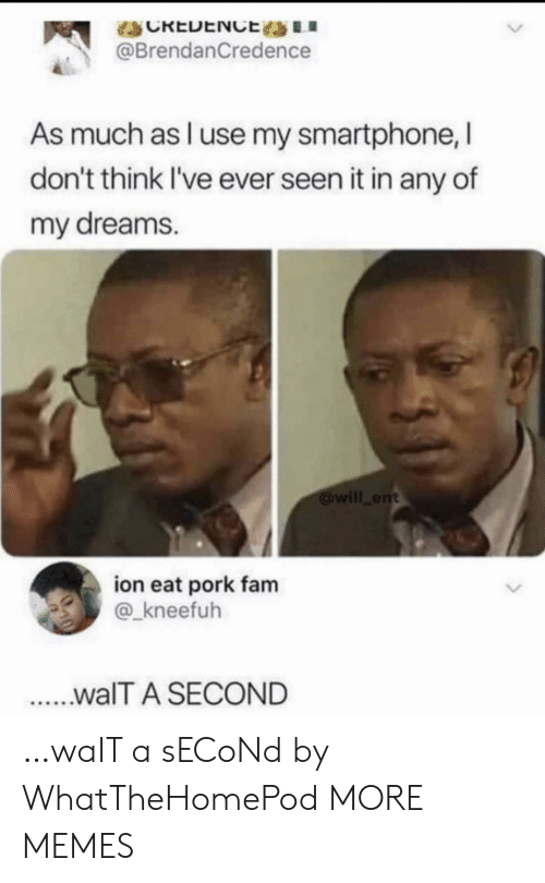 fam: CREDENCE LI  @BrendanCredence  As much as l use my smartphone, I  don't think I've ever seen it in any of  my dreams.  will ent  ion eat pork fam  @_kneefuh  ...walT A SECOND …waIT a sECoNd by WhatTheHomePod MORE MEMES