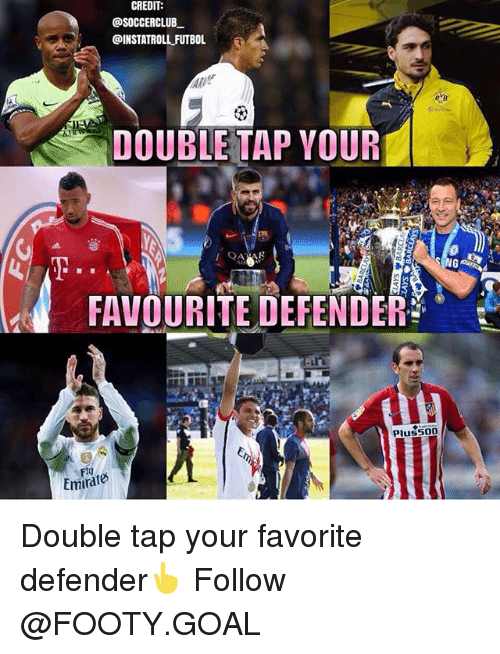 f14: CREDIT  @SOCCERCLUB  DINSTATROLL FUTBOL  DOUBLE TAP YOUR  FAVOURITE DEFENDER  Pluss00  F14  Emirate Double tap your favorite defender👆 Follow @FOOTY.GOAL
