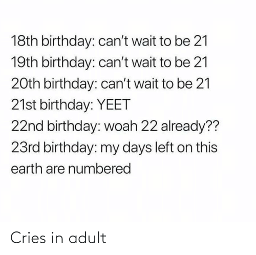 adult: Cries in adult