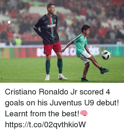 Cristiano Ronaldo, Goals, and Memes: Cristiano Ronaldo Jr scored 4 goals on his Juventus U9 debut!  Learnt from the best!🧠 https://t.co/02qvthkioW