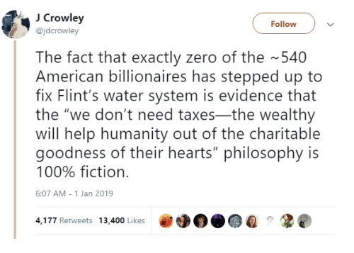 """Anaconda, Taxes, and Zero: Crowley  @jdcrowley  Follow  The fact that exactly zero of the 540  American billionaires has stepped up to  fix Flint's water system is evidence that  the """"we don't need taxes-the wealthy  will help humanity out of the charitable  goodness of their hearts"""" philosophy is  100% fiction.  6:07 AM-1 Jan 2019  4,177 Retweets 13,400 Likes"""