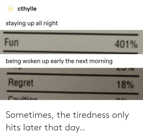 Regret, Fun, and Next: cthylle  staying up all night  Fun  401%  being woken up early the next morning  Regret  18%  Cauitis Sometimes, the tiredness only hits later that day..