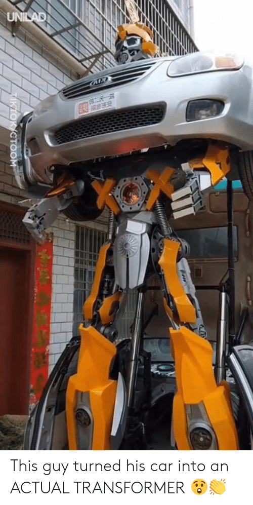 Dank, 🤖, and Transformer: CTOOM This guy turned his car into an ACTUAL TRANSFORMER 😲👏
