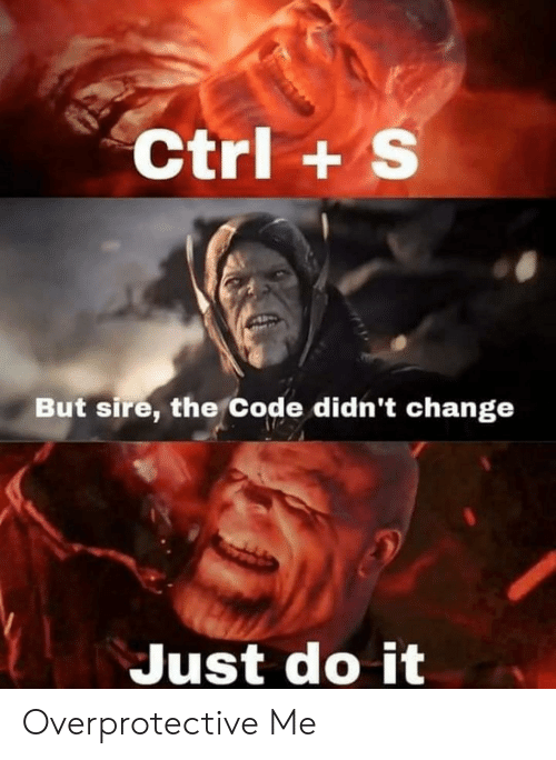 Just Do It, Change, and Code: Ctrl+ S  But sire, the Code didn't change  Just do it Overprotective Me