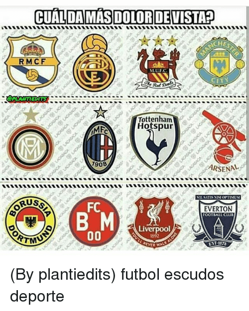 Arsenal, Everton, and Liverpool F.C.: CUALDAMAS DOLORDEVISTA?  RMCF  M.ULF.  CITY  Red  Tottenham  Hotspur  908  ARSENAL  FC  EVERTON  OOTBALL CLU3  Liverpool  EST 1578 (By plantiedits) futbol escudos deporte