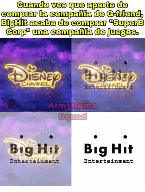 "Squad, Army, and Superb: Cuando ves que aparte de  comprar la compania de G-friend,  BigHit acaba de comprar SuperB  Corp"" una companfa de juegos  ISNE  CHANNEL  EntsANNELE  ite  Army Bomb  Squad  Big Hi  Big Hit  ANNEL  Entertainment  Entertainment"