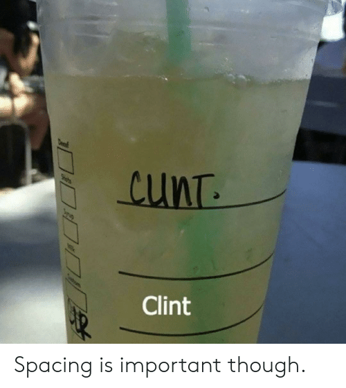 Cunt, Though, and Clint: cunT  Clint  DaDp Spacing is important though.