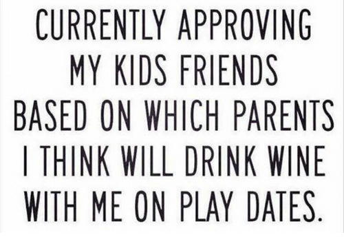 Drink Wine: CURRENTLY APPROVING  MY KIDS FRIENDS  BASED ON WHICH PARENTS  | THINK WILL DRINK WINE  WITH ME ON PLAY DATES