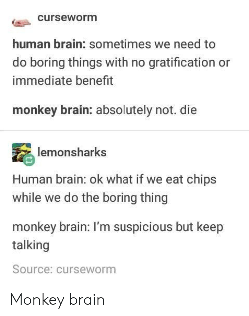 Keep Talking: curseworm  human brain: sometimes we need to  do boring things with no gratification or  immediate benefit  monkey brain: absolutely not. die  lemonsharks  Human brain: ok what if we eat chips  while we do the boring thing  monkey brain: I'm suspicious but keep  talking  Source: curseworm Monkey brain