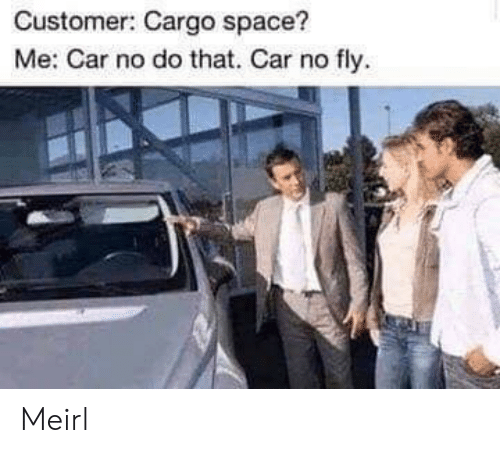 Space, MeIRL, and Car: Customer: Cargo space?  Me: Car no do that. Car no fly Meirl