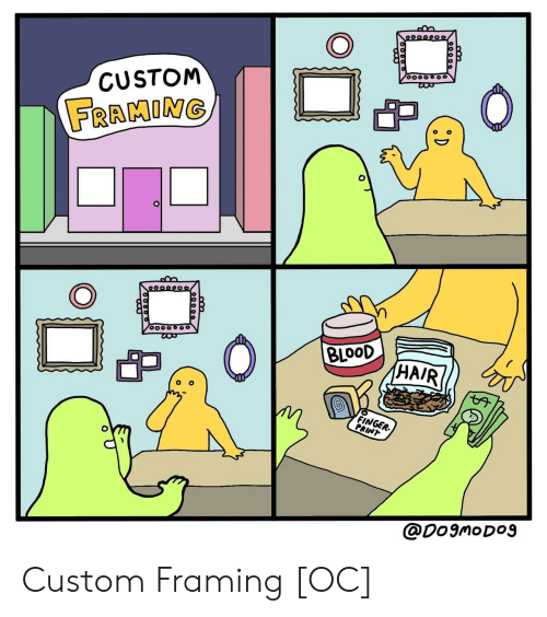 Blood, Custom, and Finger: CUSTONM  FRAMINo  BLOOD  HA  FINGER.  PRINT  @Do9moDO9 Custom Framing [OC]