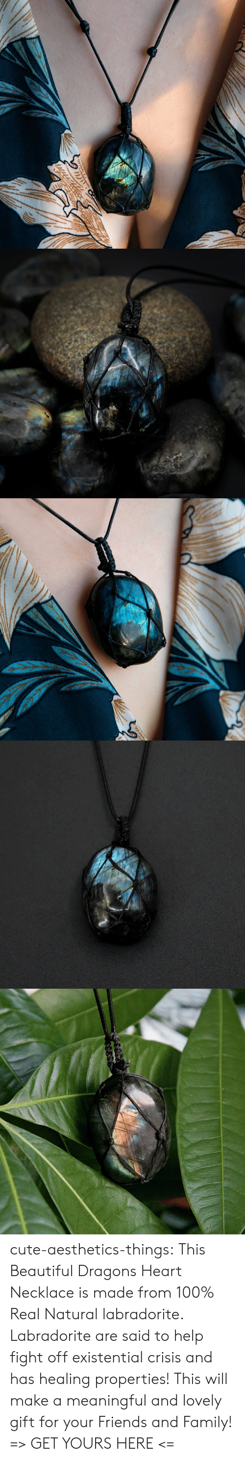 Beautiful, Cute, and Family: cute-aesthetics-things: This Beautiful Dragons Heart Necklace is made from 100% Real Natural labradorite. Labradorite are said to help fight off existential crisis and has healing properties! This will make a meaningful and lovely gift for your Friends and Family! => GET YOURS HERE <=