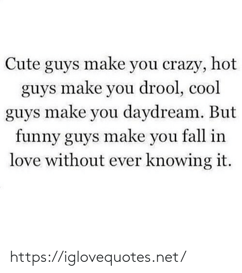 crazy: Cute guys make you crazy, hot  guys make you drool, cool  guys make you daydream. But  funny guys make you fall in  love without ever knowing it. https://iglovequotes.net/