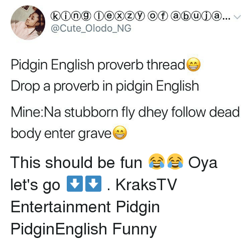 Cute, Funny, and Memes: @Cute Olodo_NG  Pidgin English proverb thread  Drop a proverb in pidgin English  Mine:Na stubborn fly dhey follow dead  body enter grave This should be fun 😂😂 Oya let's go ⬇️⬇️ . KraksTV Entertainment Pidgin PidginEnglish Funny