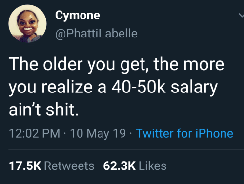 May 19: Cymone  @PhattiLabelle  The older you get, the more  you realize a 40-50k salary  ain't shit.  12:02 PM 10 May 19 Twitter for iPhone  17.5K Retweets 62.3K Likes