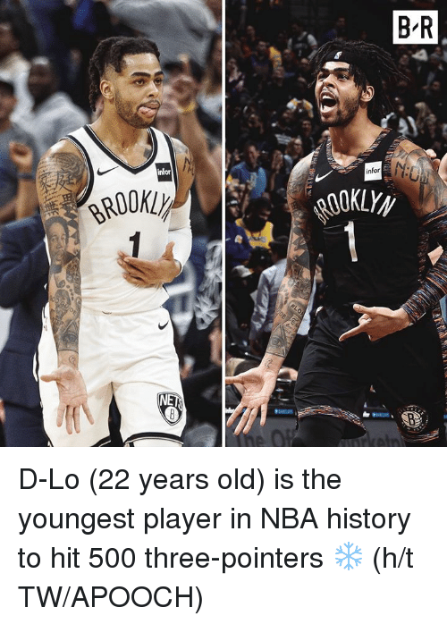 Nba, History, and Old: D-Lo (22 years old) is the youngest player in NBA history to hit 500 three-pointers ❄️  (h/t TW/APOOCH)
