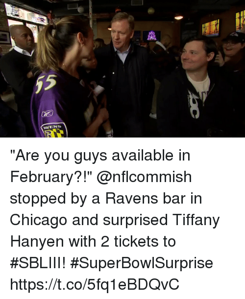 "Chicago, Memes, and Ravens: (D  RAVENS ""Are you guys available in February?!""  @nflcommish stopped by a Ravens bar in Chicago and surprised Tiffany Hanyen with 2 tickets to #SBLIII! #SuperBowlSurprise https://t.co/5fq1eBDQvC"