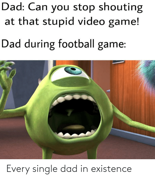 existence: Dad: Can you stop shouting  at that stupid video game!  Dad during football game: Every single dad in existence