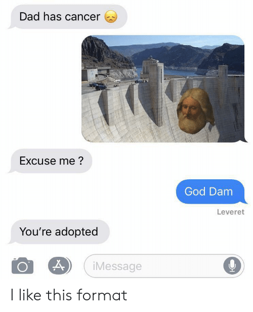 dam: Dad has cancer  Excuse me?  God Dam  Leveret  You're adopted  iMessage I like this format