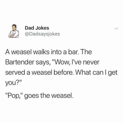 "pop: Dad Jokes  @Dadsaysjokes  A weasel walks into a bar. The  Bartender says, ""Wow, I've never  served a weasel before. What can I get  you?""  ""Pop,"" goes the weasel."
