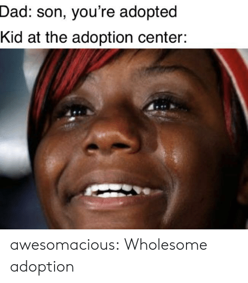 Dad, Tumblr, and Blog: Dad: son, you're adopted  Kid at the adoption center: awesomacious:  Wholesome adoption
