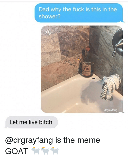Bitch, Dad, and Meme: Dad why the fuck is this in the  shower?  tos  drgrayfang  Let me live bitch @drgrayfang is the meme GOAT 🐐🐐🐐