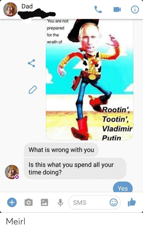 Putin: Dad  You are not  prepared  for the  wrath of  Rootin'  Tootin',  Vladimir  Putin  What is wrong with you  Is this what you spend all your  time doing?  Yes  +  SMS Meirl
