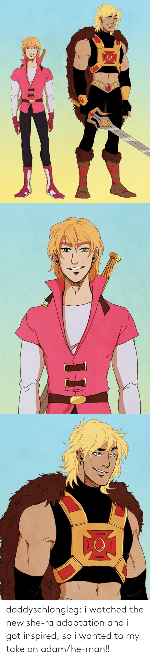 Tumblr, He-Man, and Blog: daddyschlongleg:  i watched the new she-ra adaptation and i got inspired, so i wanted to my take on adam/he-man!!