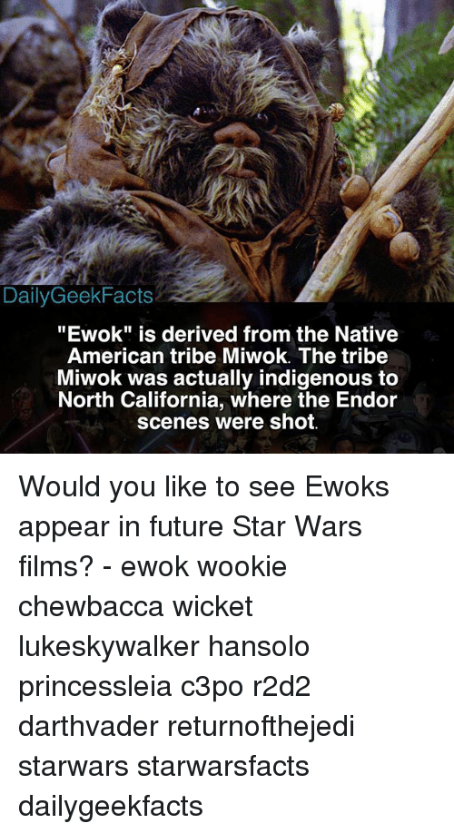 "wicket: Daily Geek Facts  ""Ewok"" is derived from the Native  American tribe Miwok. The tribe  Miwok was actually indigenous to  North California, where the Endor  scenes were shot. Would you like to see Ewoks appear in future Star Wars films? - ewok wookie chewbacca wicket lukeskywalker hansolo princessleia c3po r2d2 darthvader returnofthejedi starwars starwarsfacts dailygeekfacts"