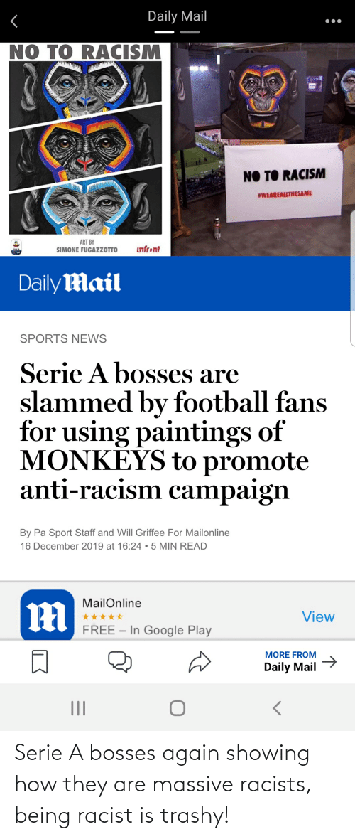 serie a: Daily Mail  NO TO RACISM  NO TO RACISM  #WEAREALLTHESAME  ART BY  SIMONE FUGAZZOTTO  infront  TIM  Daily Mail  SPORTS NEWS  Serie A bosses are  slammed by football fans  for using paintings of  MONKEYS to promote  anti-racism campaign  By Pa Sport Staff and Will Griffee For Mailonline  16 December 2019 at 16:24 •5 MIN READ  MailOnline  View  FREE – In Google Play  -  MORE FROM  Daily Mail > Serie A bosses again showing how they are massive racists, being racist is trashy!
