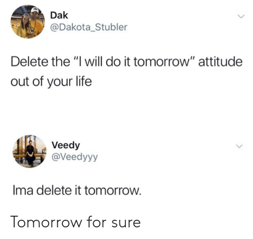 "Delete It: Dak  @Dakota_Stubler  Delete the ""I will do it tomorrow"" attitude  out of your life  Veedy  @Veedyyy  Ima delete it tomorrow. Tomorrow for sure"